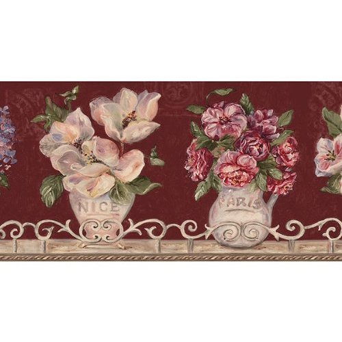 Burgundy Floral Vases Wallpaper Border Home Kitchen 500x500