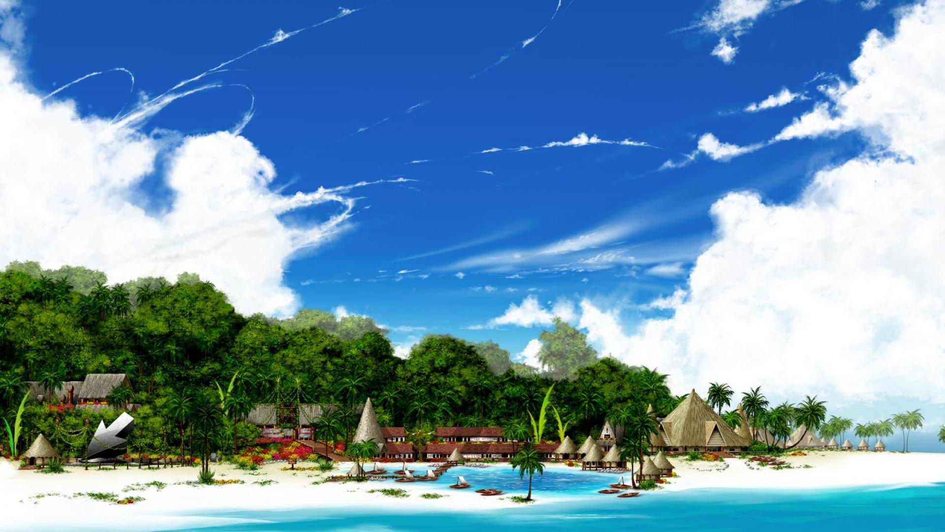 Download paradise beach wallpaper HD wallpaper 1920x1080
