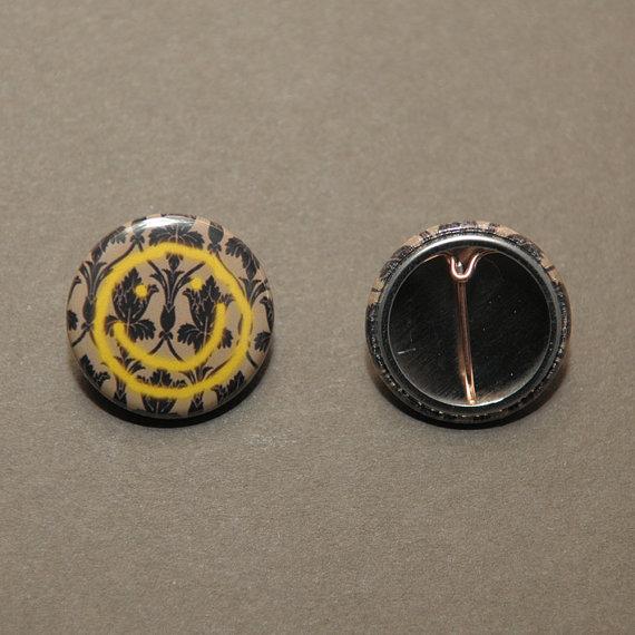BBC Sherlock wallpaper smiley face button badge pinback 570x570
