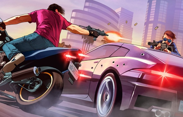 Wallpaper gta online fanart los santos grand theft auto v rockstar 596x380