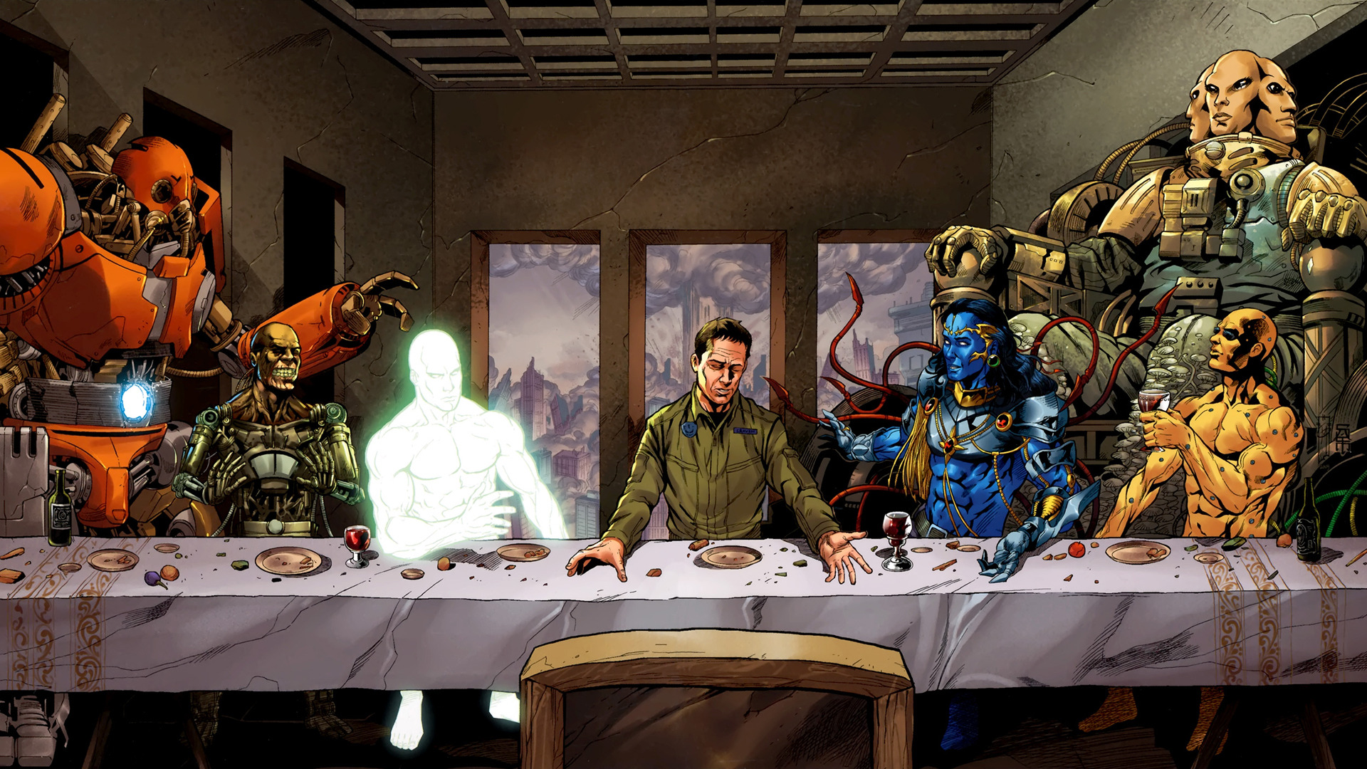 Supergod Last Supper wallpaper 19264 1920x1080