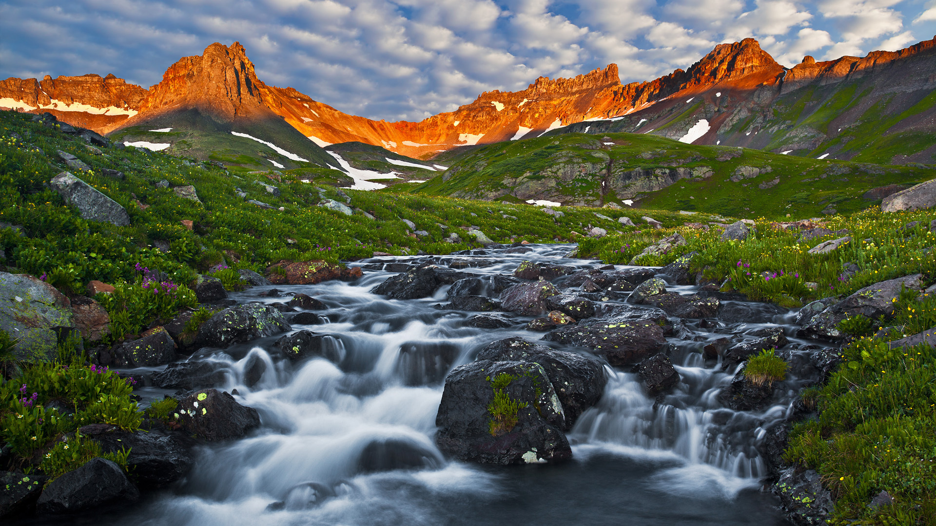 Lake Basin at dawn San Juan Mountains Colorado   Desktop Wallpaper 1920x1080
