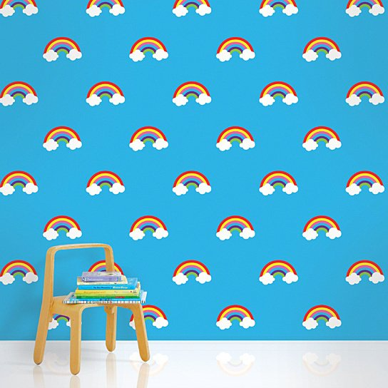 Buy Rainbows Blue Removable Peel and Stick Wallpaper by WallCandy 544x544