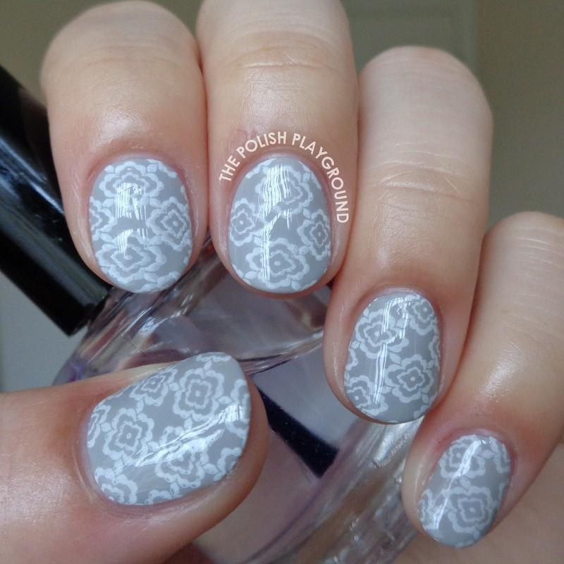 Light Grey and White Floral Wallpaper nail art by Lisa N   Nailpolis 800x800