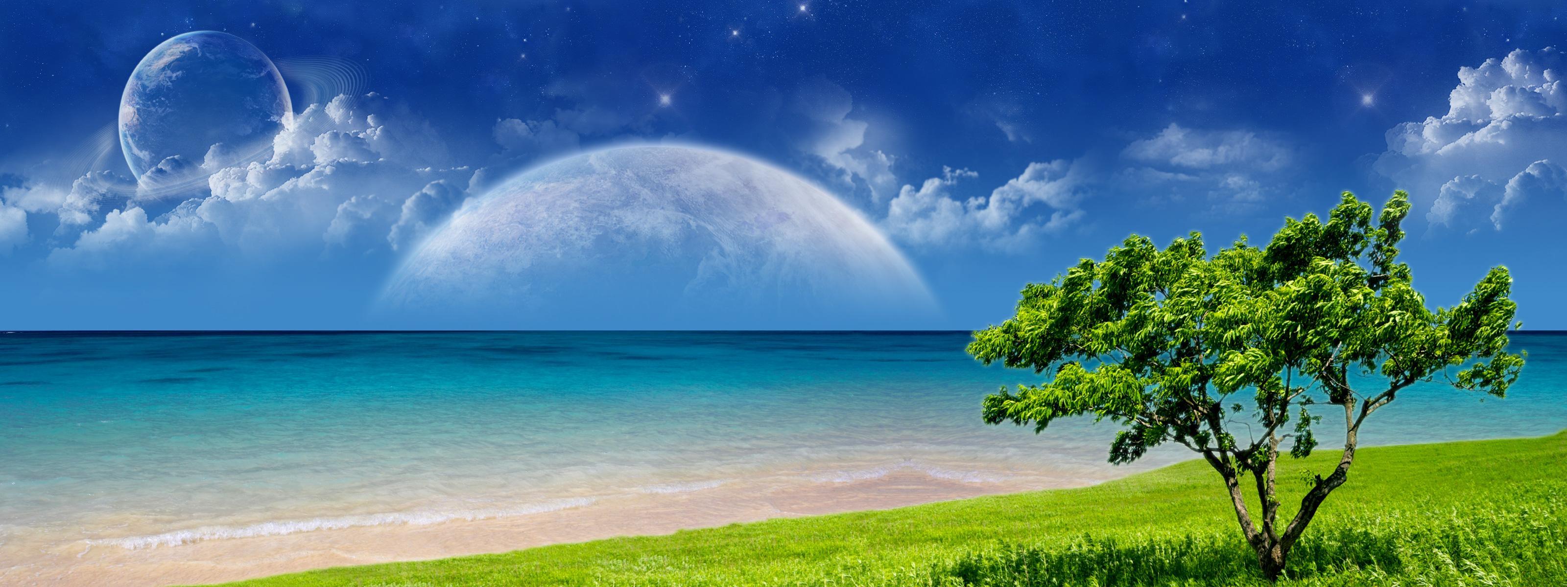 Multi Monitor Dual Screen cg digital art manip ocean sea sky planets 3200x1200