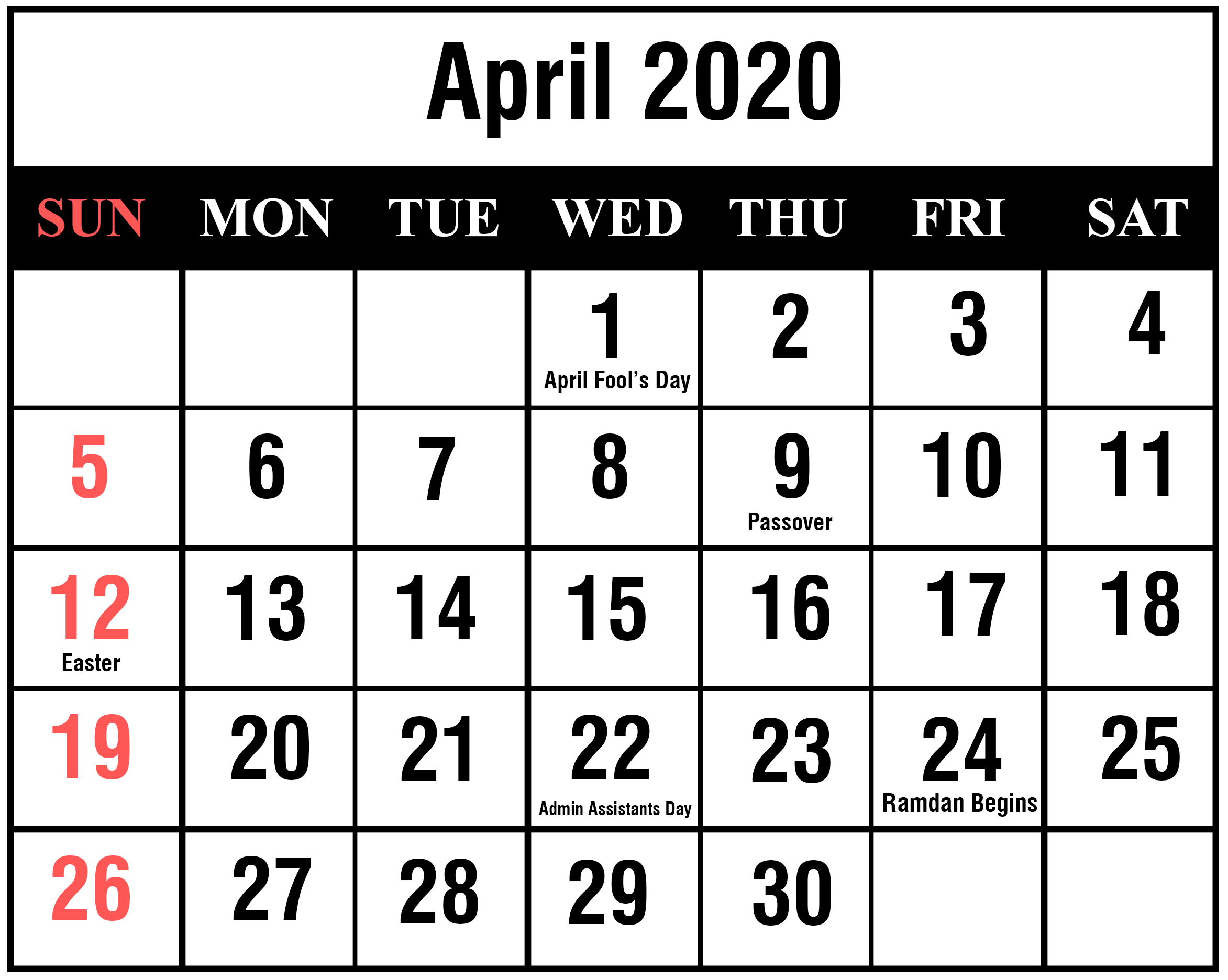 April 2020 Calendar Printable Template Blank Editable Word PDF 2345x1872