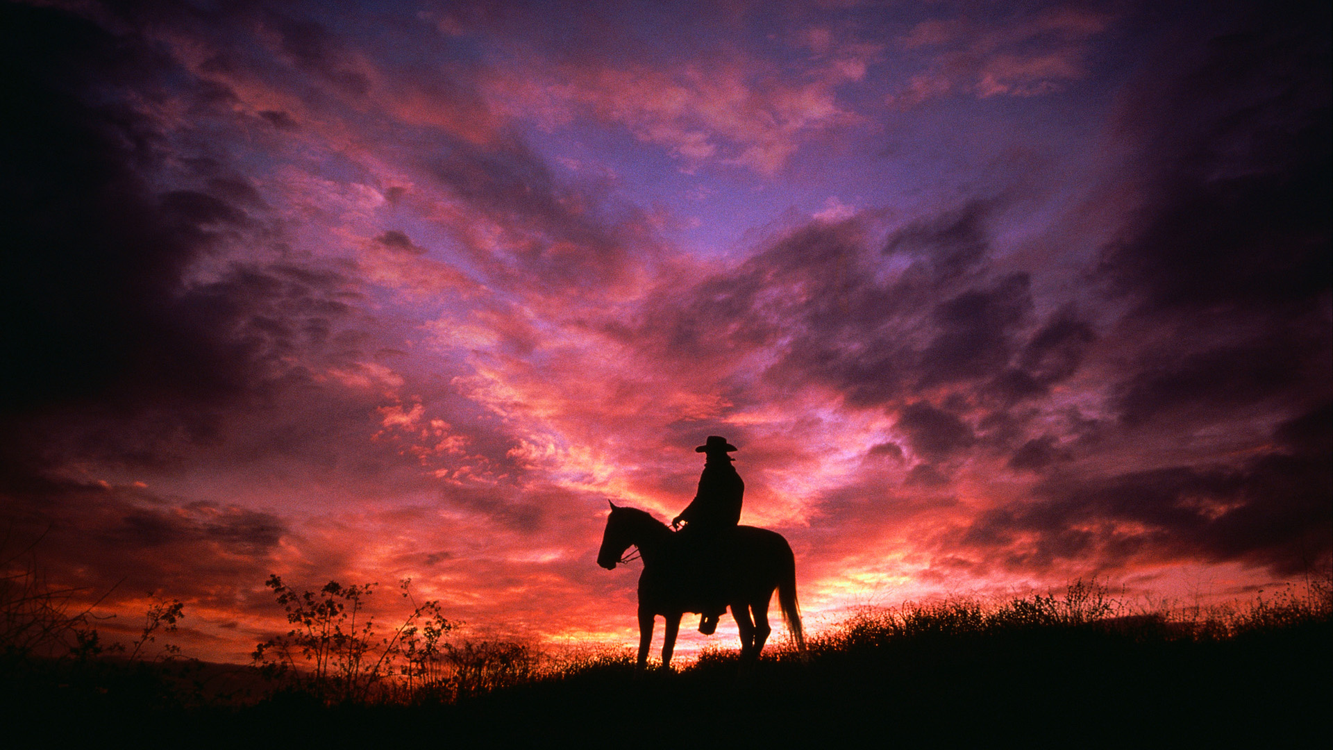 Wallpaper sky, cowboy, clouds, horse, silhouette, sunset, cowboy on ...