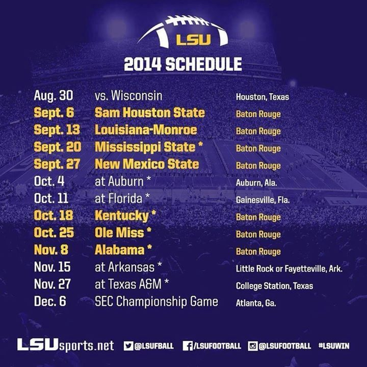 LSU Football Schedule 2014 LSU Tigers Pinterest 720x720