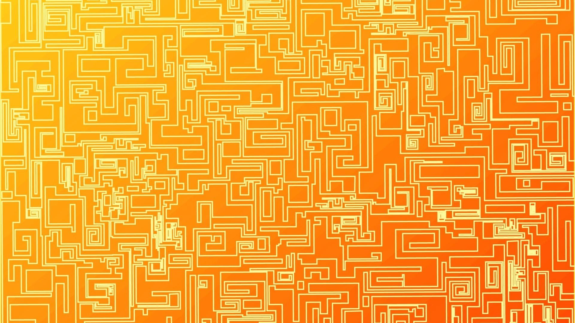 download Abstract orange geometry digital art lines wallpaper 1920x1080