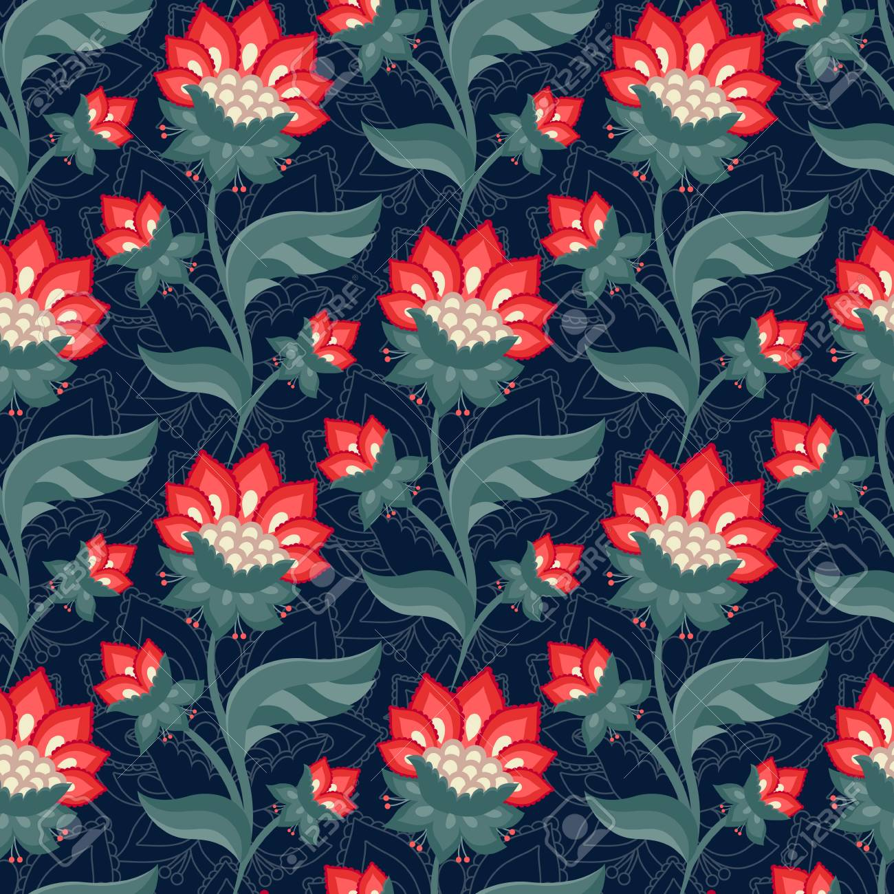 Floral Seamless Pattern Jacobean Style Flowers Colorful Herbal 1300x1300