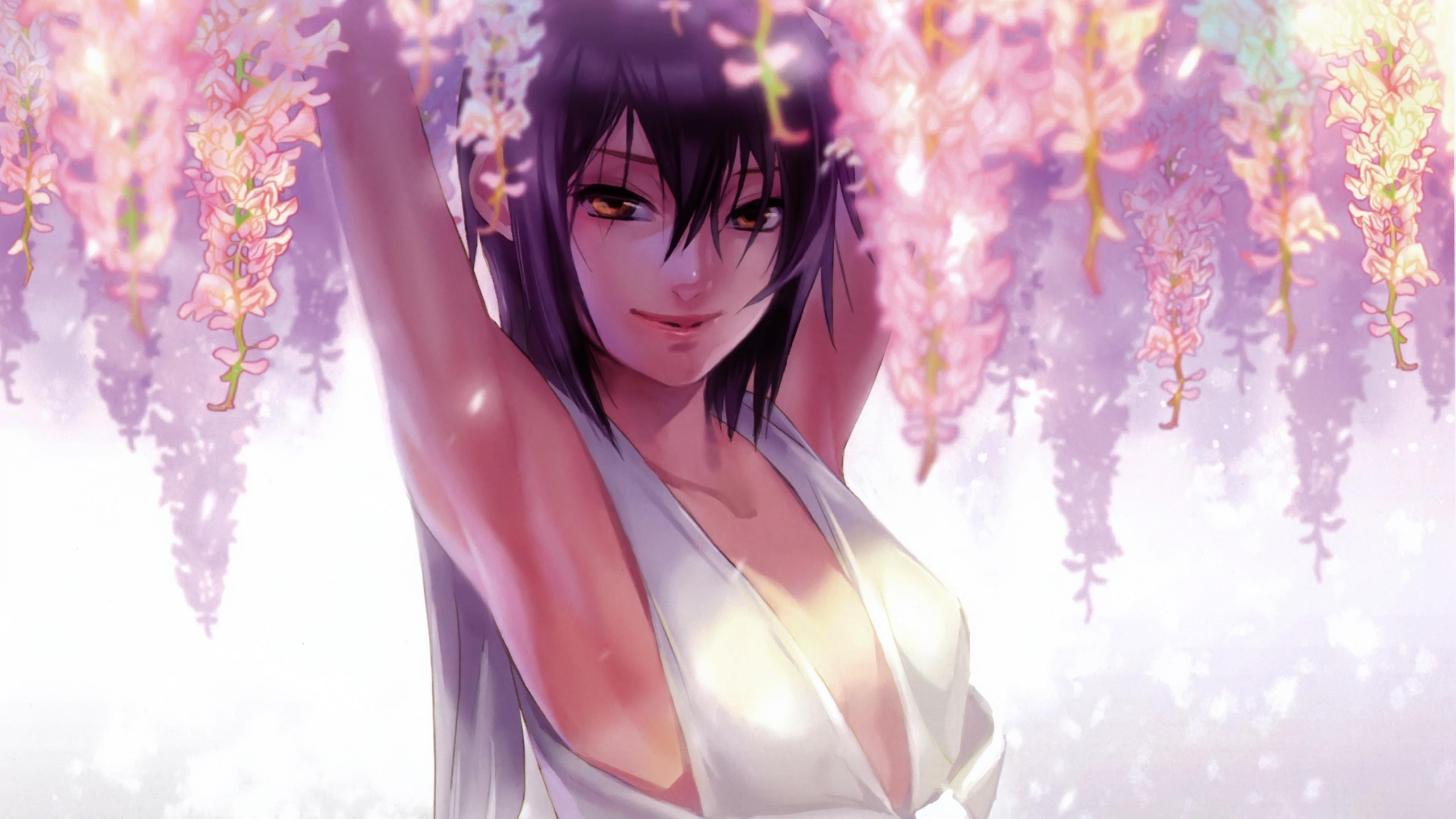 Download Wallpaper 3840x2160 anime girl sun spring image smile 4K 3840x2160