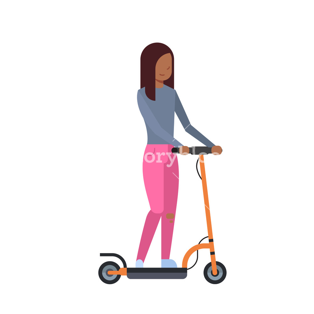 african girl riding electric kick scooter over white background 1000x1000