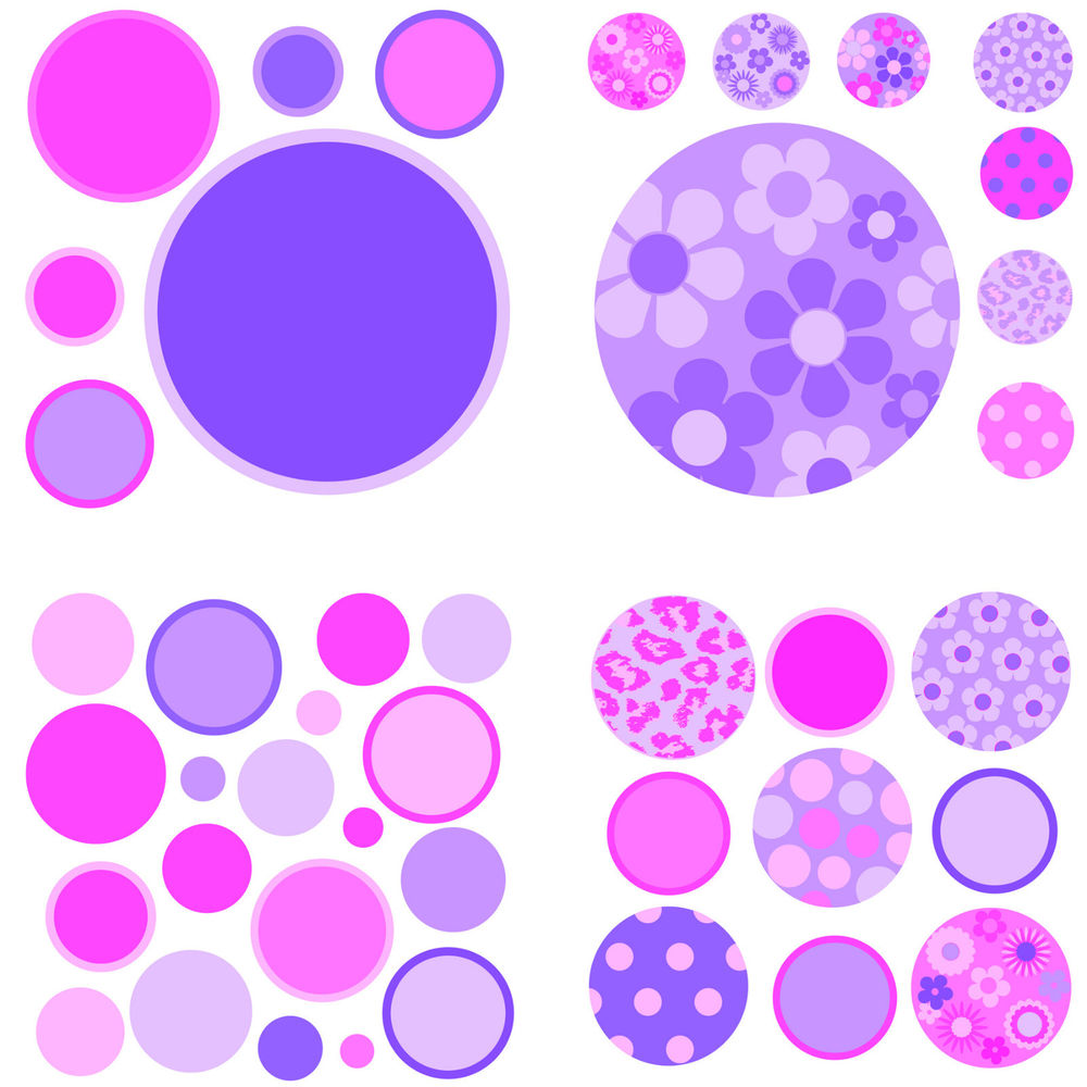 Gone Dotty Pink and Purple Appliques Peel Stick Wall Mural eBay 1000x1000