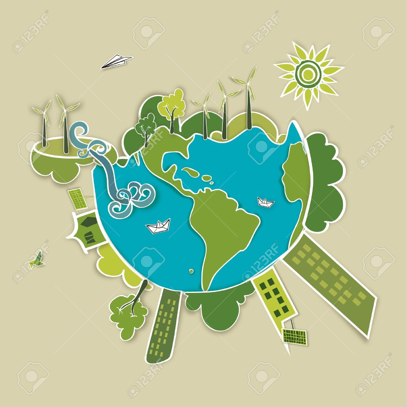 Go Green World Industry Sustainable Development With Environmental 1300x1300