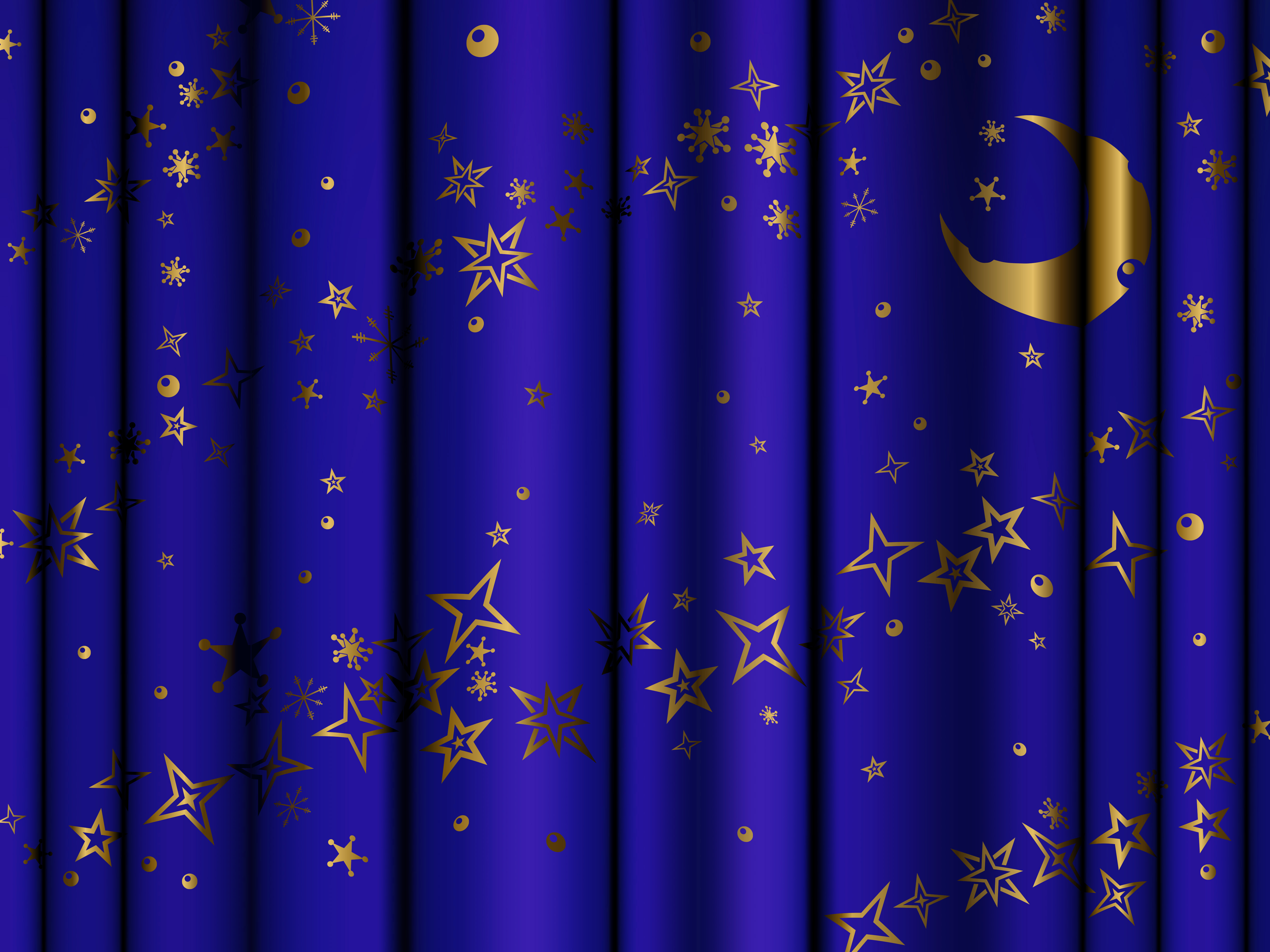 Blue Curtains with Gold Stars and Moon Background Gallery 5000x3750