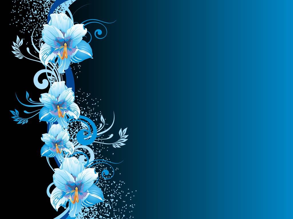 Dark Blue And White Flowers: Blue Flower Background