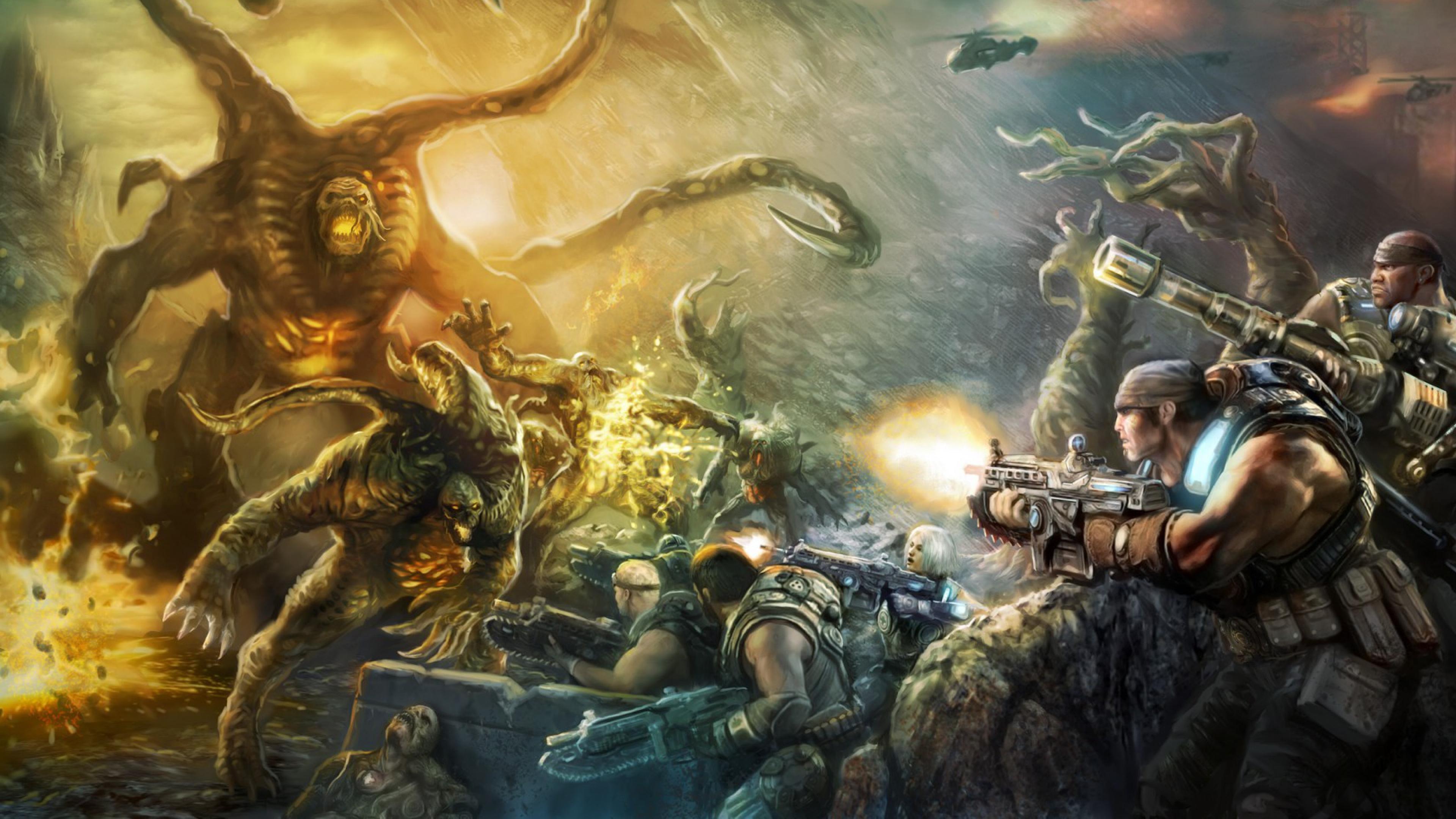 Wallpaper 3840x2160 gears of war judgment art video game epic games 3840x2160