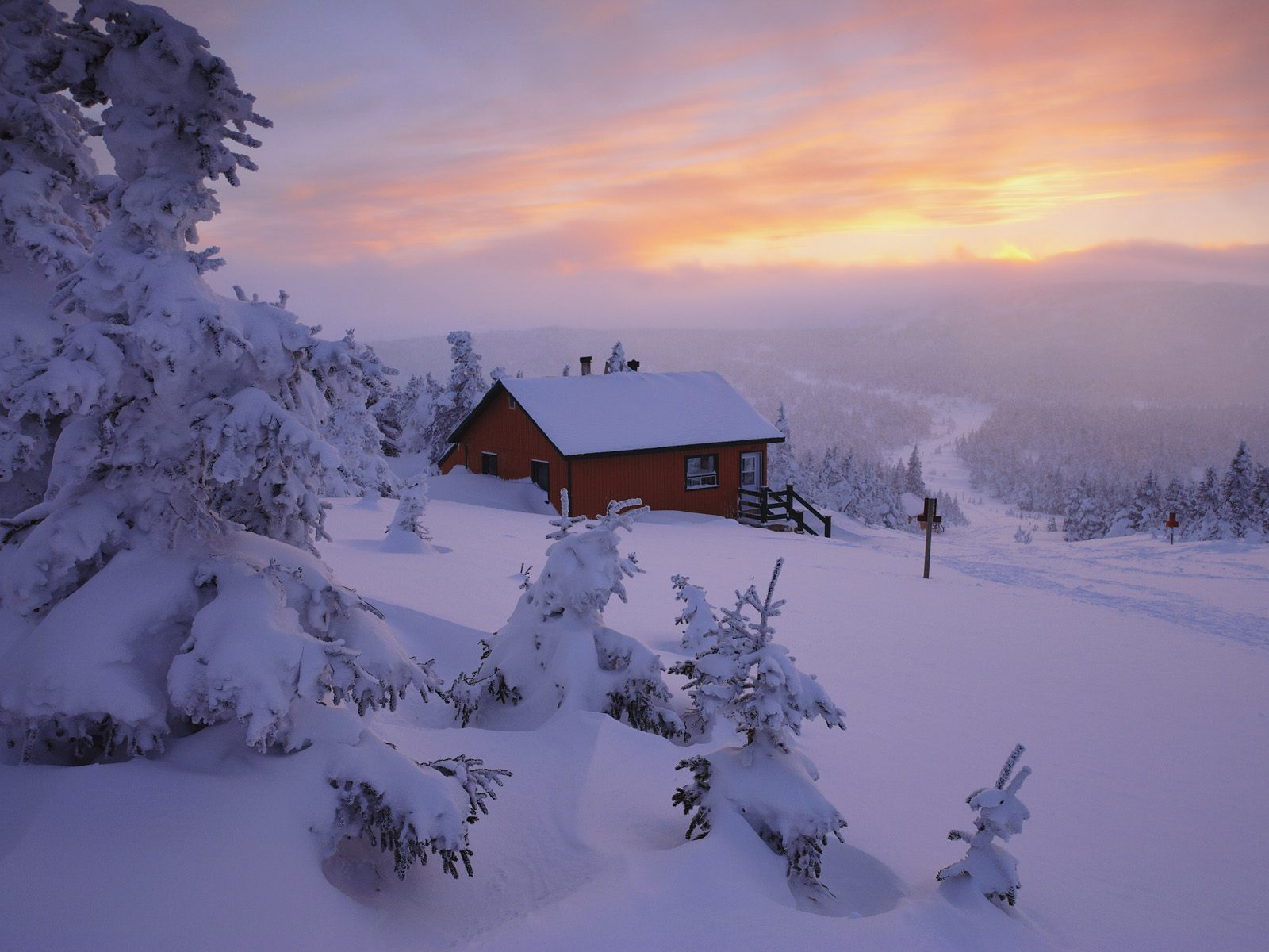 mountain cabin in the snow desktop wallpapers mountain cabin in the 1600x1200