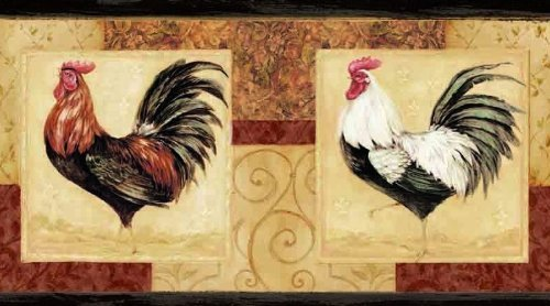 Wallpaper Border Country Roosters Red Black White on Tan and Red with 500x278