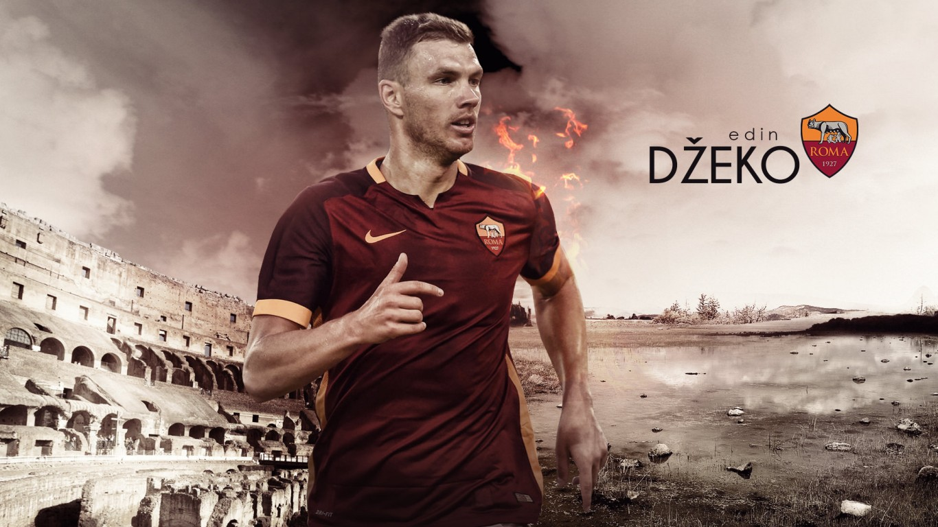 Edin Dzeko AS Roma 20152016 Wallpaper   Football Wallpapers HD 1366x768