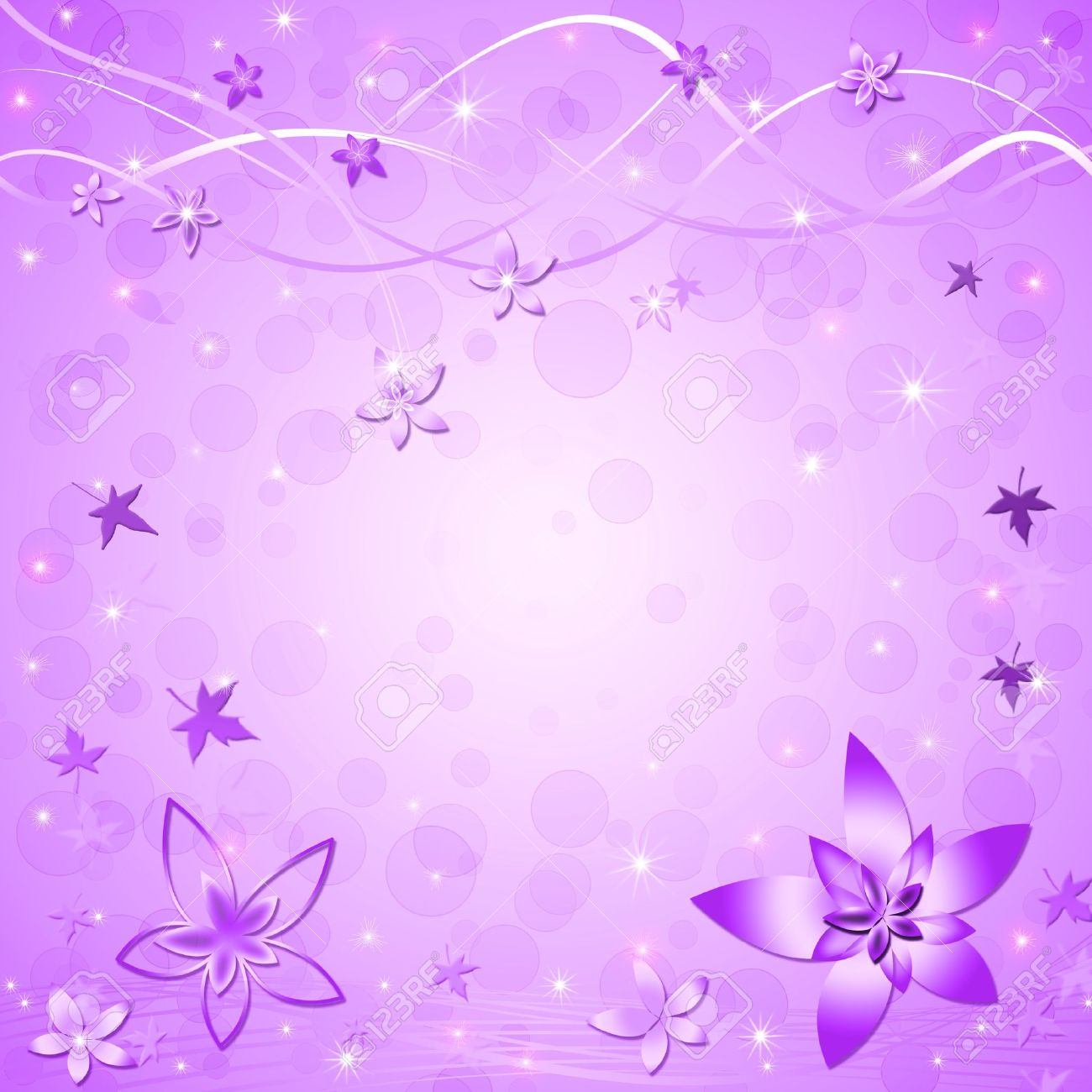 Beautiful Springsummer Violet Background With Leaves And Flowers 1300x1300