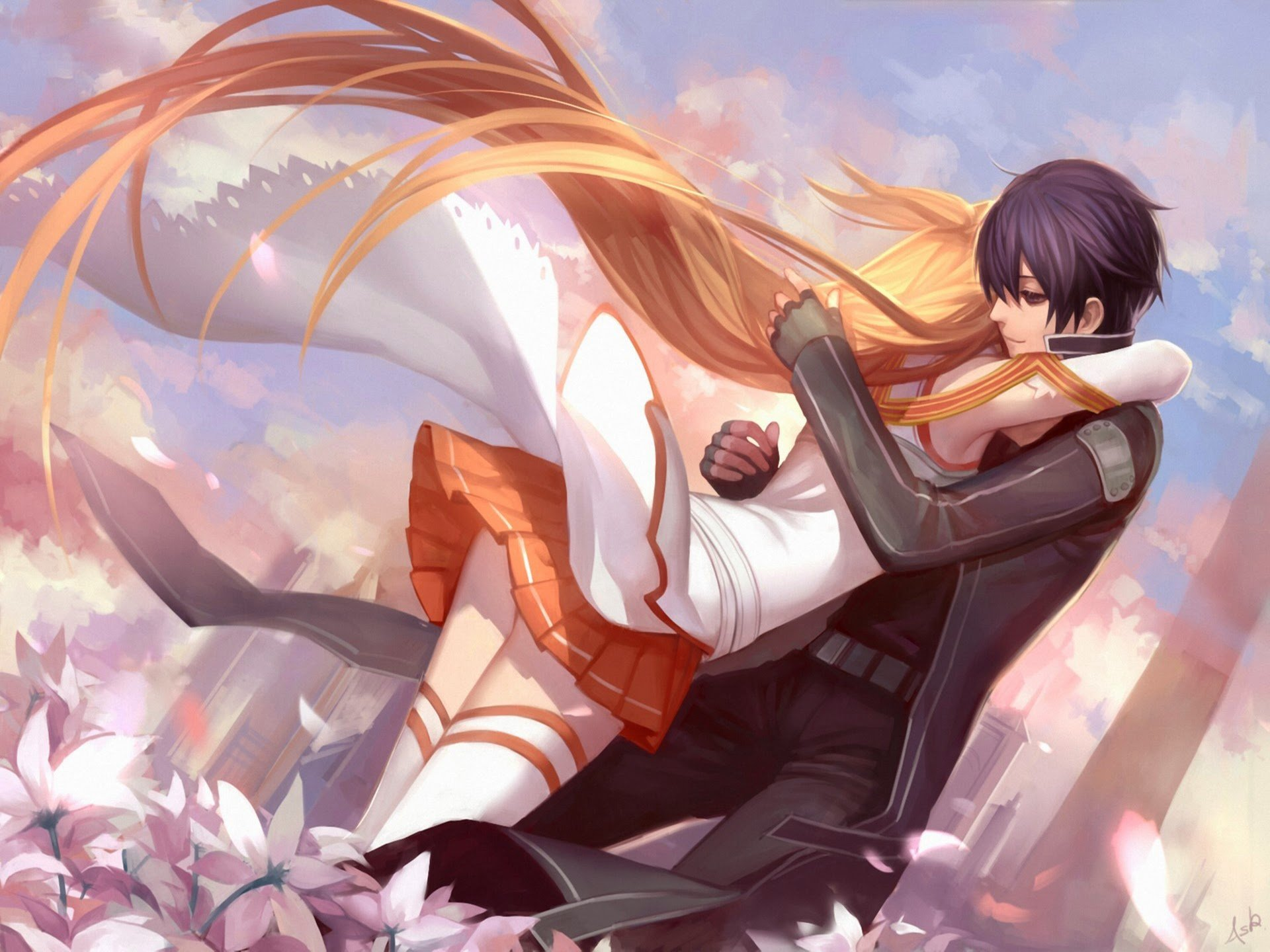 Asuna kirito couple hug sword art online anime hd wallpaper 1920x1440
