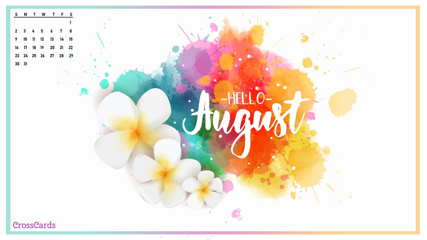 August 2020   Hello August Desktop Calendar  August Wallpaper 1366x768