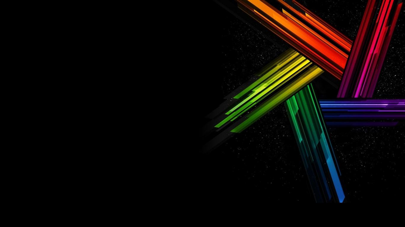 1366x768 Colors on Black desktop PC and Mac wallpaper 1366x768