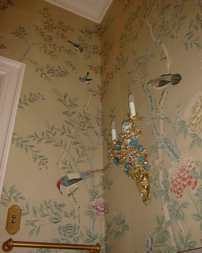 hand painted wallpaper chinoiserie wallpaper silk wallpaper 400x500