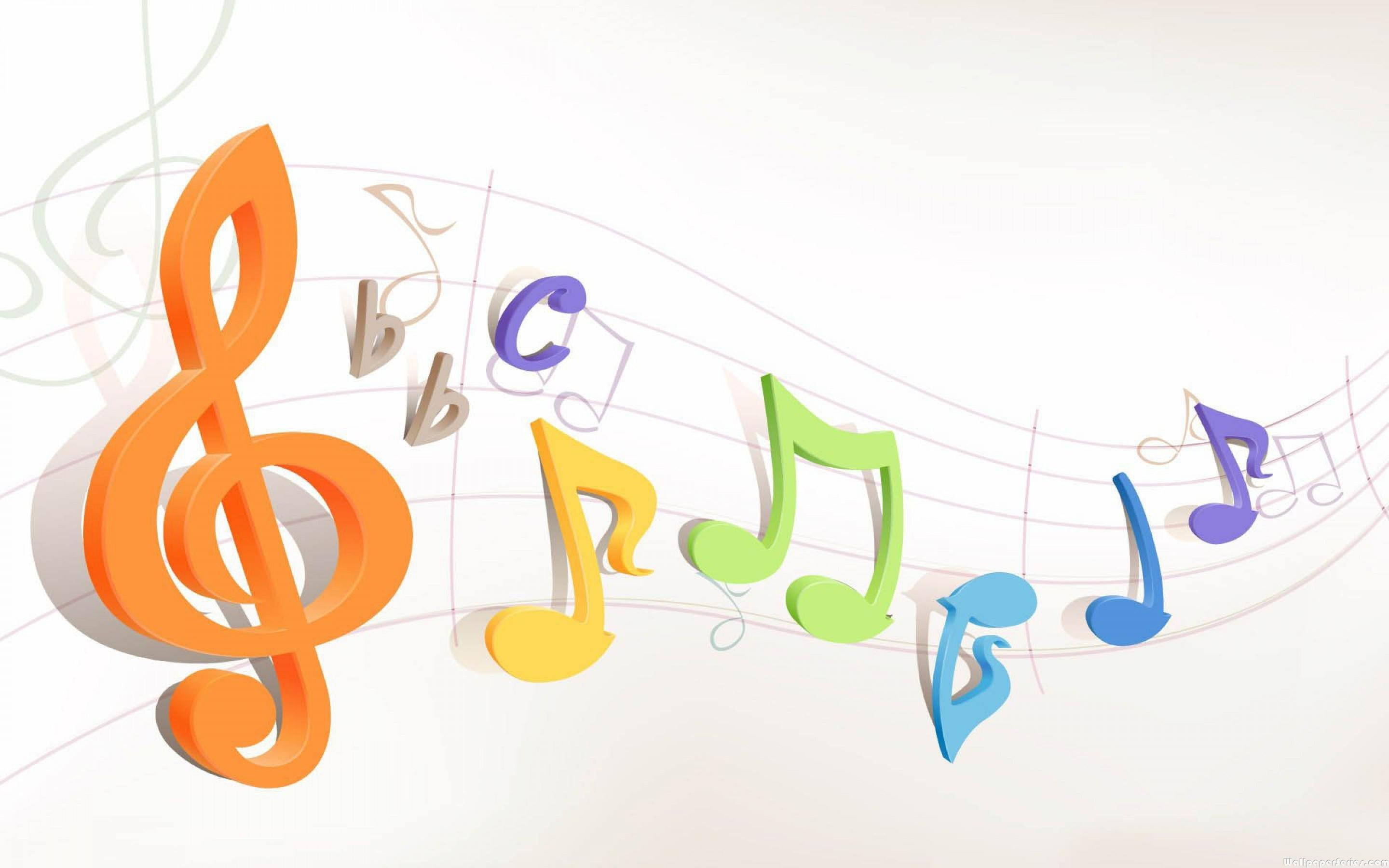 3d Colorful Music Notes Wallpaper: Colorful Treble Clef Wallpaper