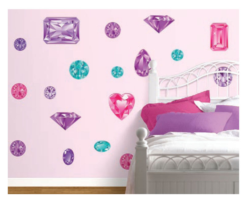 Girls Best Friend in Pink and Purple Peel and Stick Wall Mural 800x654