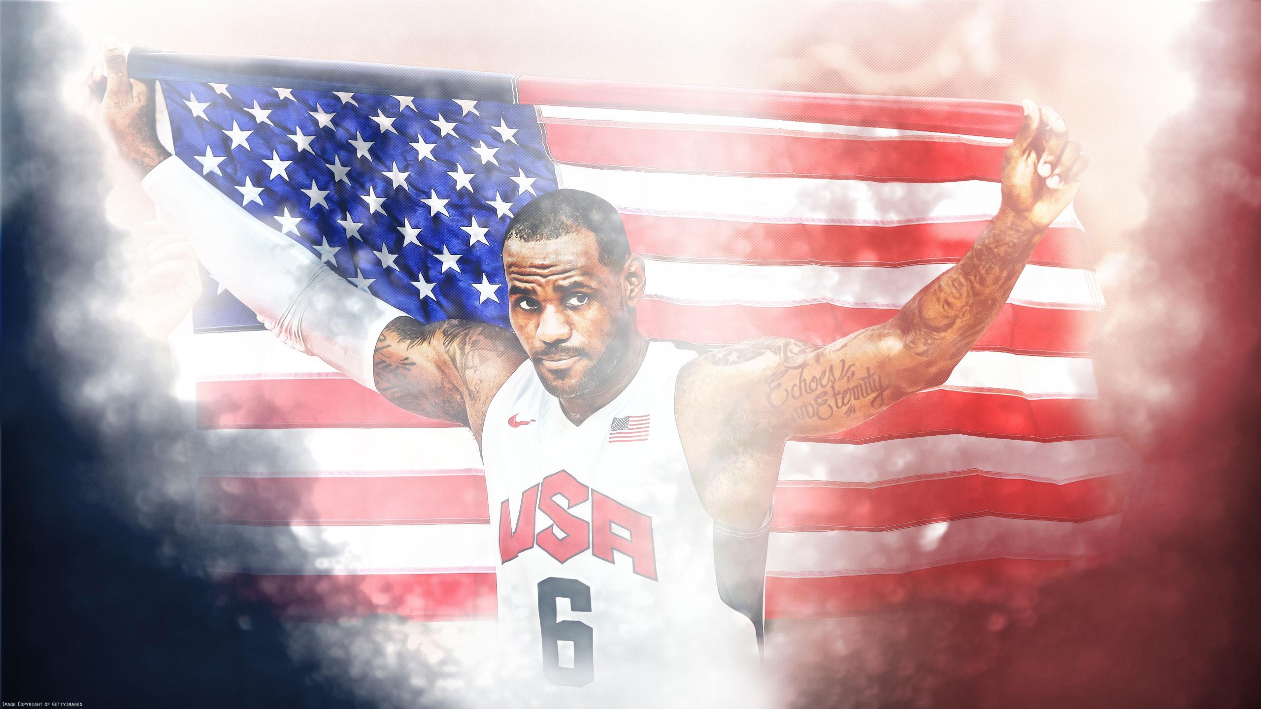 LeBron James London 2012 USA Flag 25601440 Wallpaper Basketball 2560x1440
