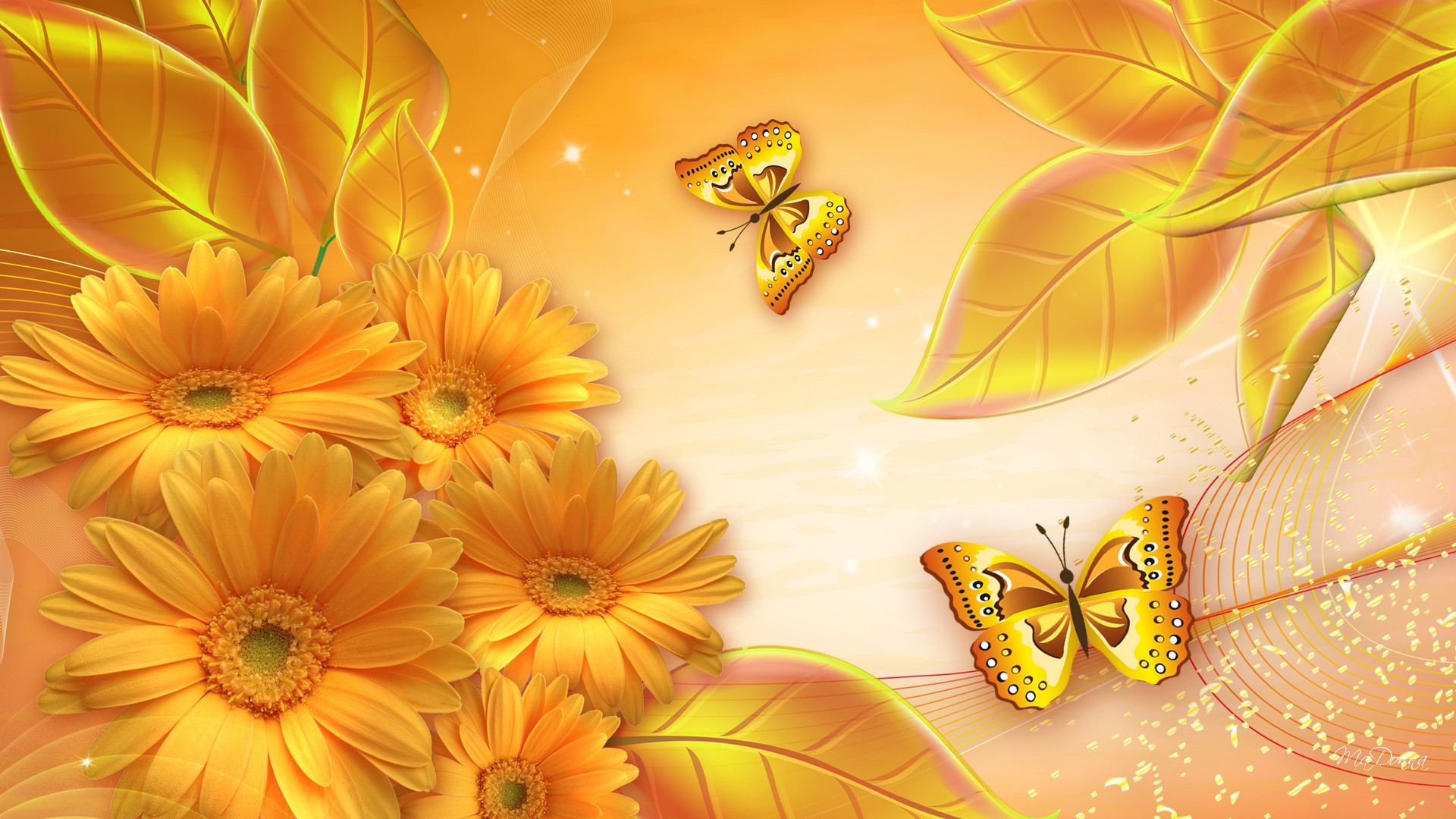 Flowers Gold Awesome Wallpaper 1920x1080