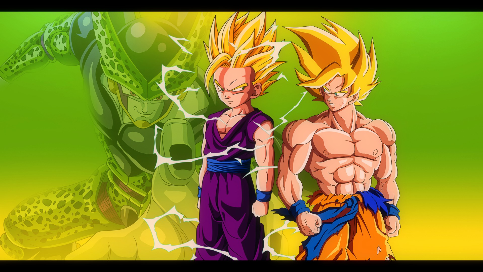 Goku and Gohan vs Cell   DBZ Wallpaper 19201080 by Oirigns on 1920x1080