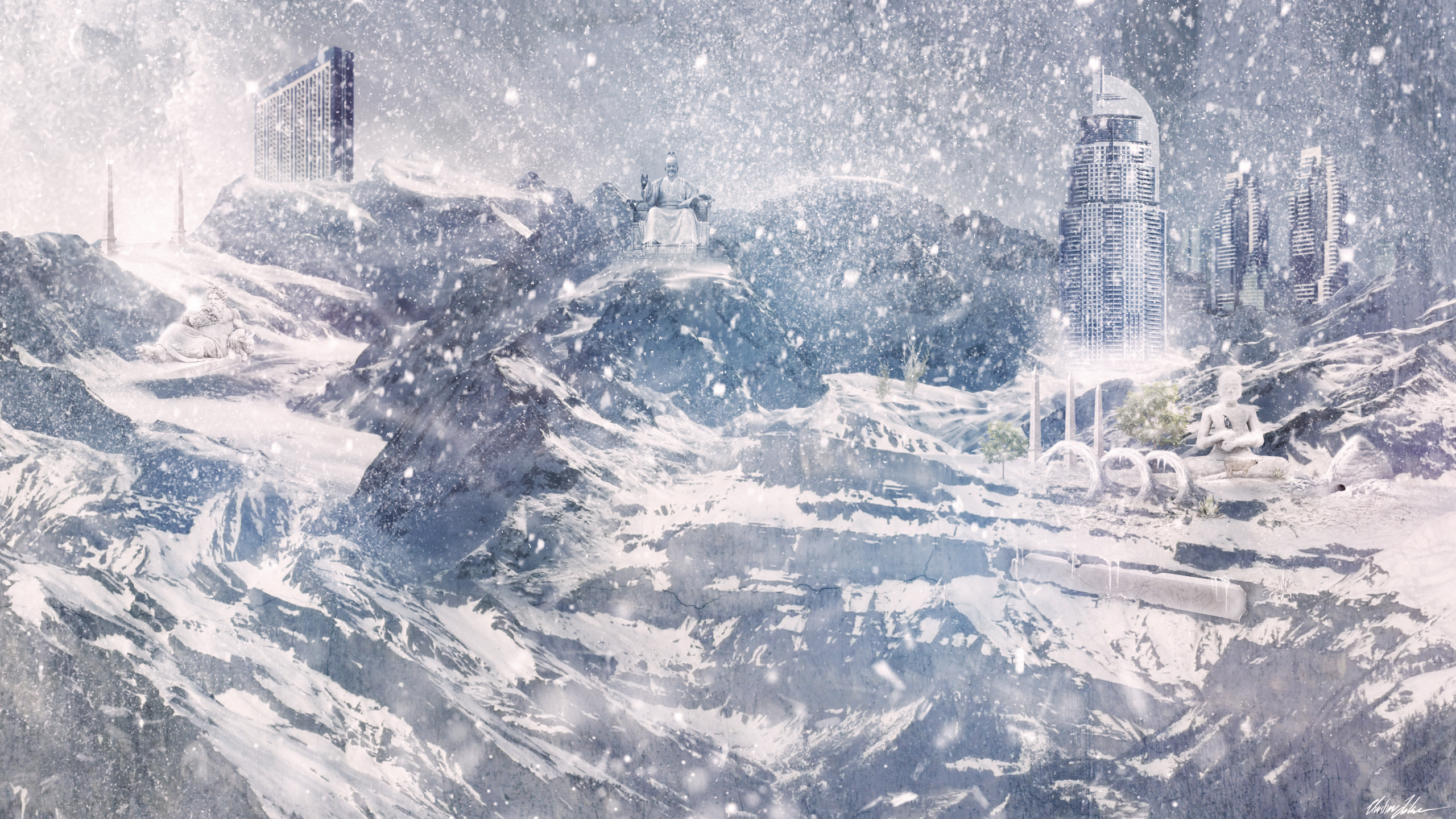 Winter Blizzard Wallpaper 2560x1440