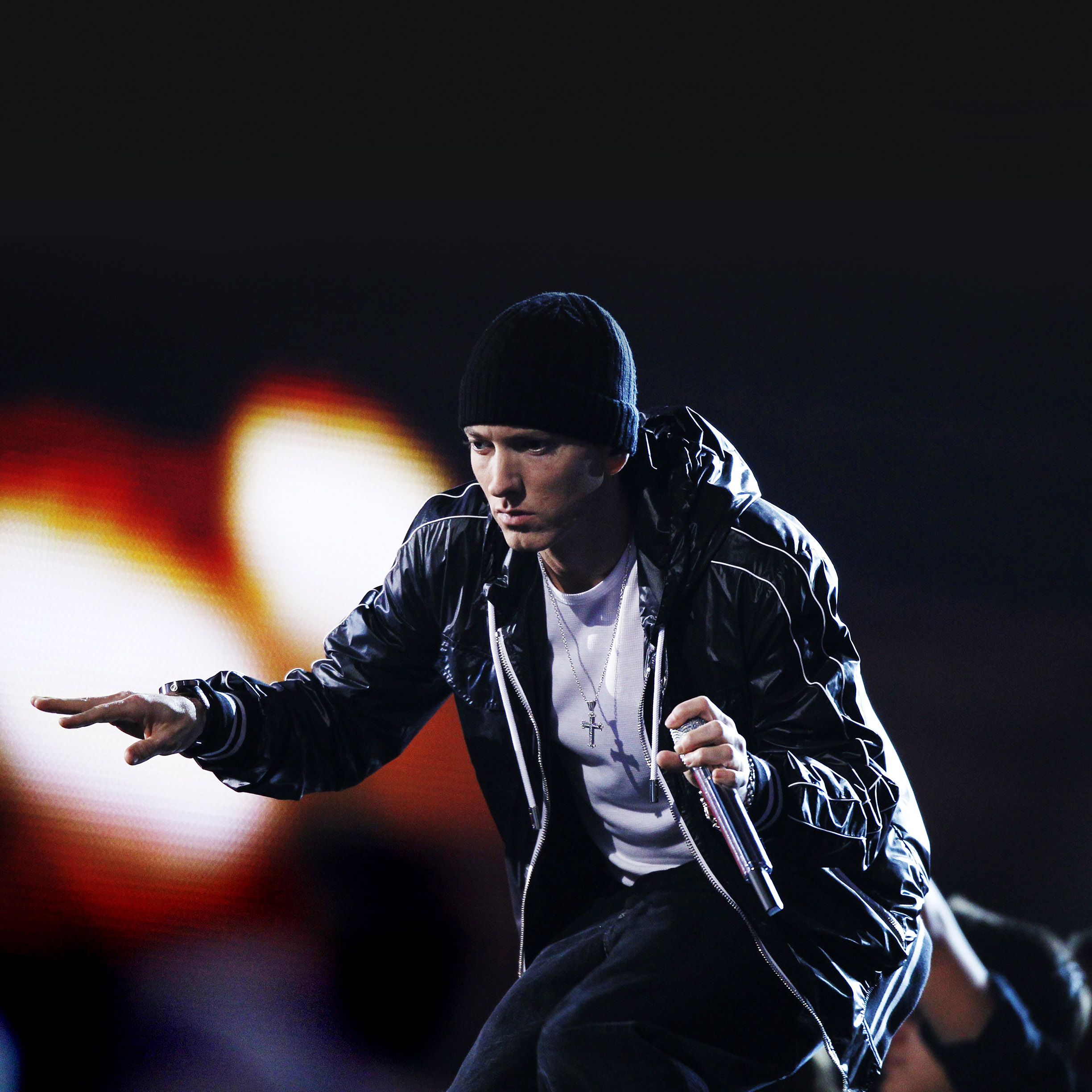 FREEIOS7 eminem in concert   parallax HD iPhone iPad wallpaper 2448x2448