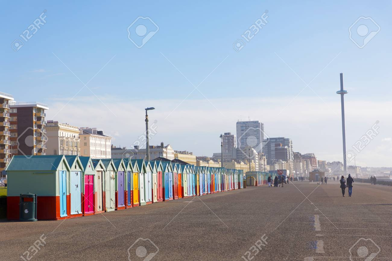 Lots Of Very Colorful Bathing Huts In Brighton And Hove And People 1300x866
