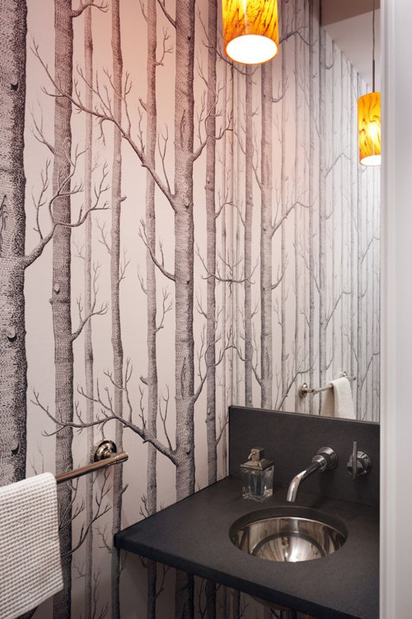 bathroom wallpaper tree design 600x900
