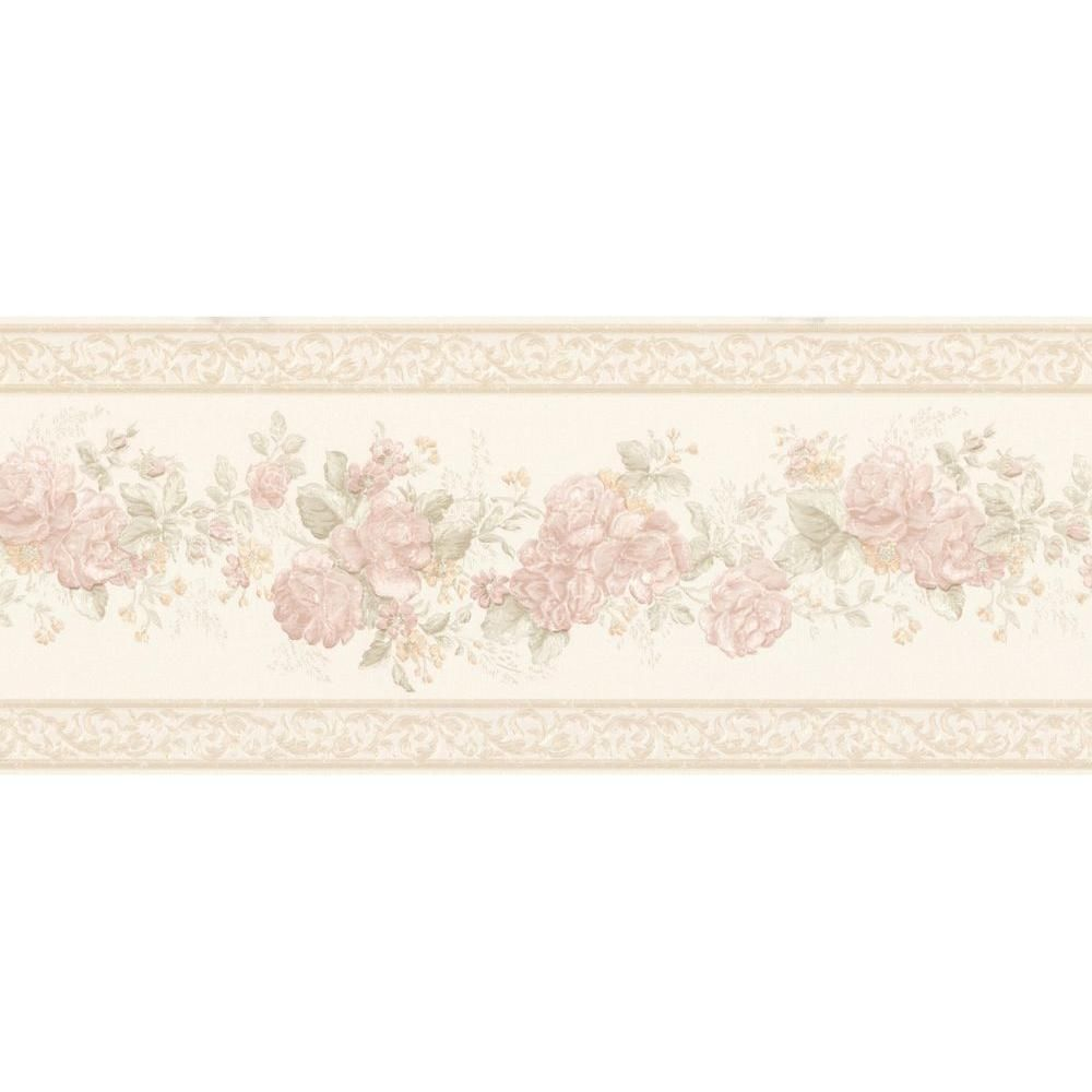 Mirage Tiff Blush Satin Floral Wallpaper Border Sample 1000x1000