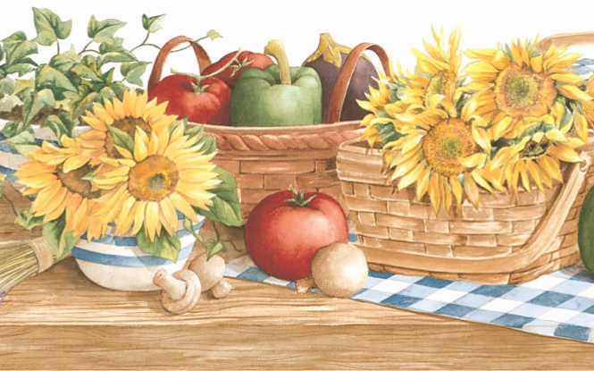 Country sunflower vegetable kitchen wallpaper border 131b35410 665x415