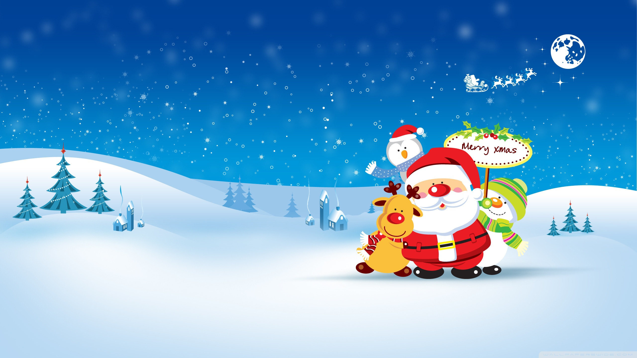 Merry Xmas 4K HD Desktop Wallpaper for Dual Monitor Desktops 2560x1440