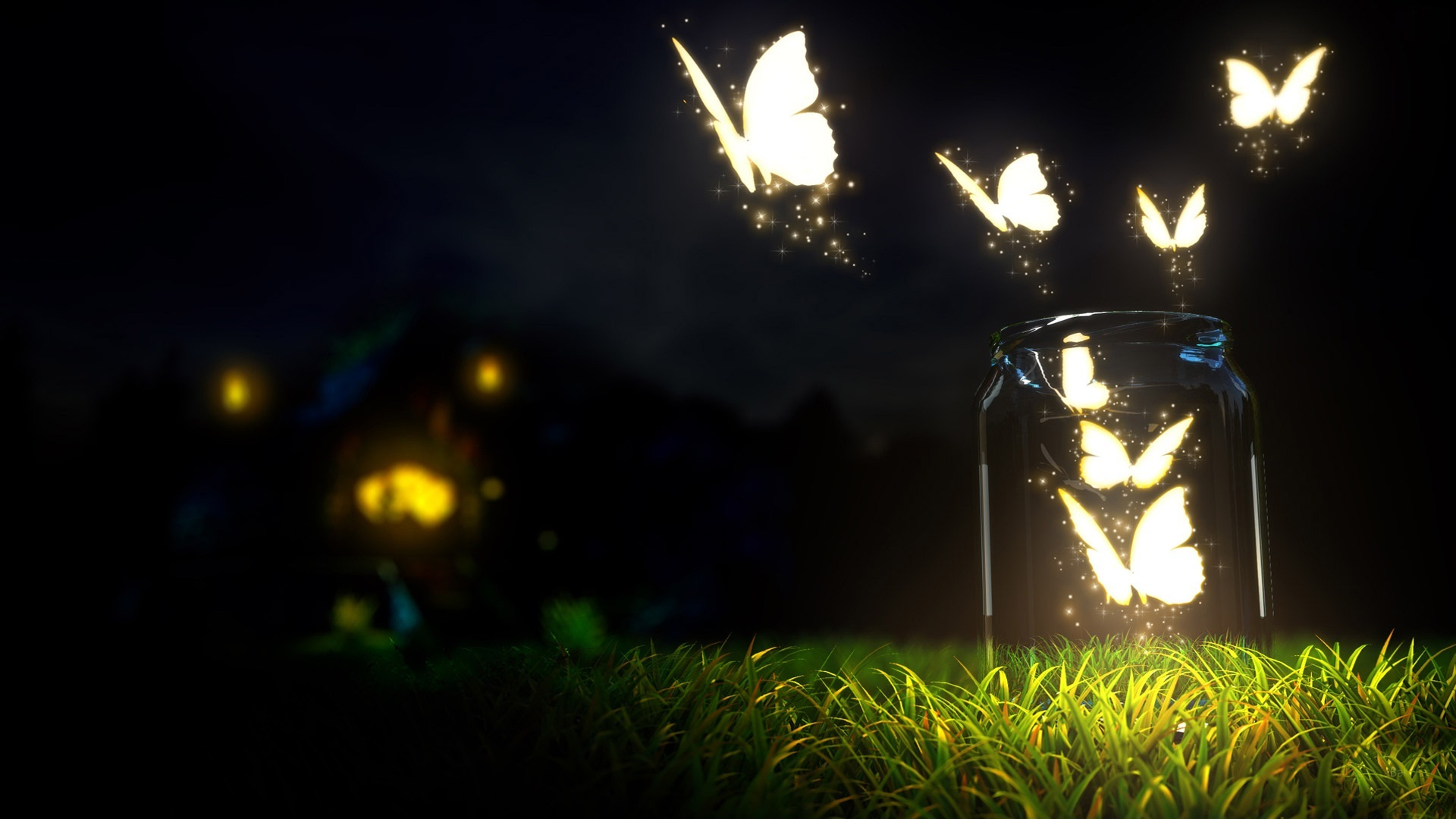 Illumination butterflies in night HD Wallpapers Rocks 1920x1080