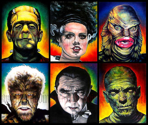 Classic Monsters   Set of signed 8x10 prints by Chuck HodiOnly 30 500x425