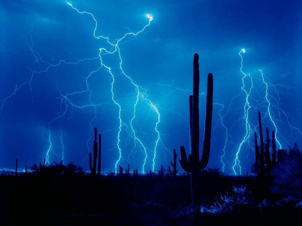1152x864 Lightning and cactus desktop PC and Mac wallpaper 1152x864