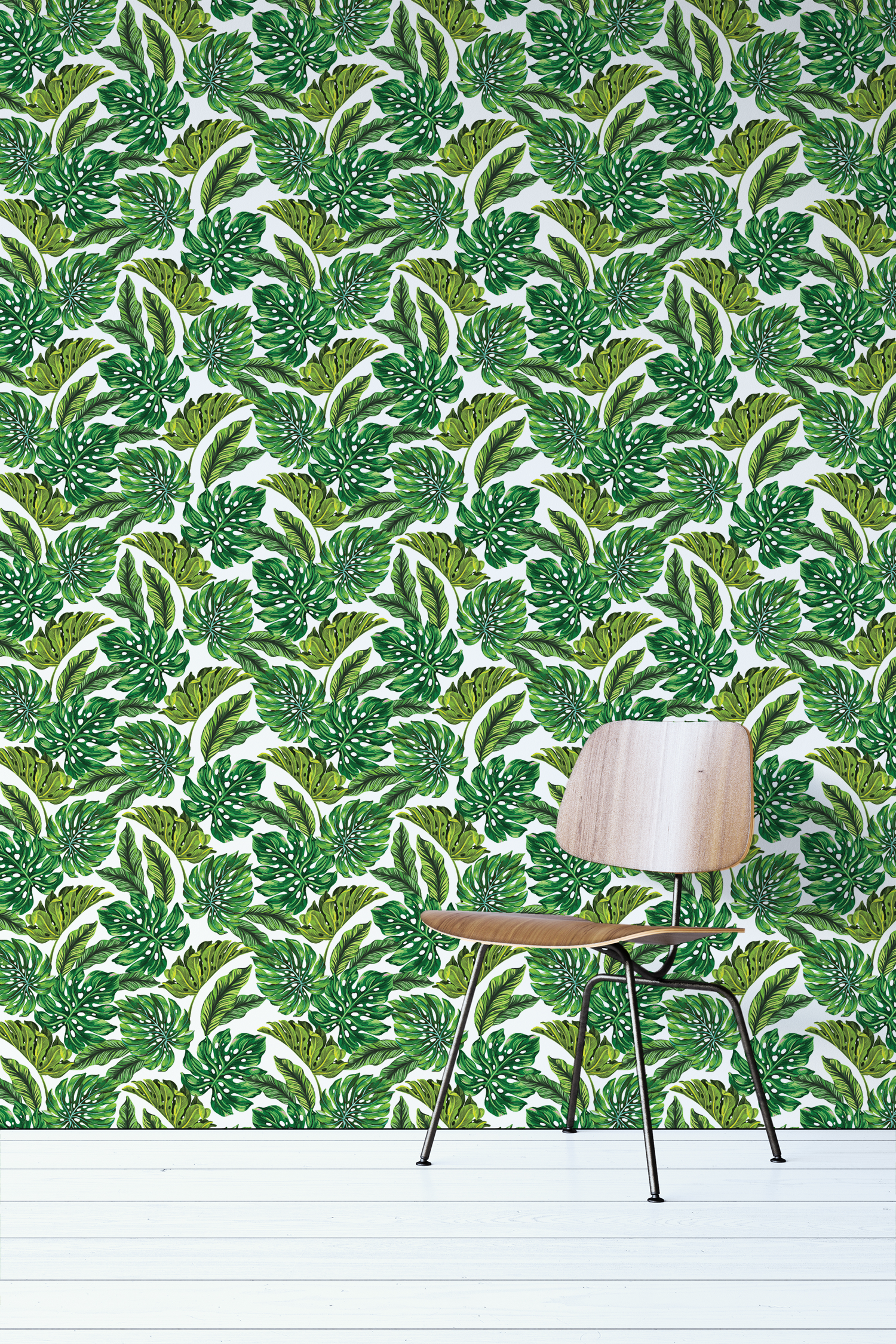 Bohemian Wallpaper With Green Leaves Wallflorashopcom 1500x2250