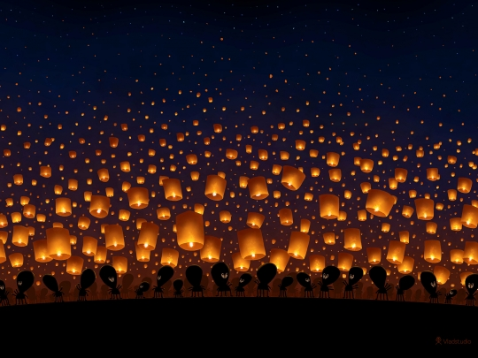 sky lanterns signed wallpaper Art Wallpaper Desktop Wallpaper 540x405