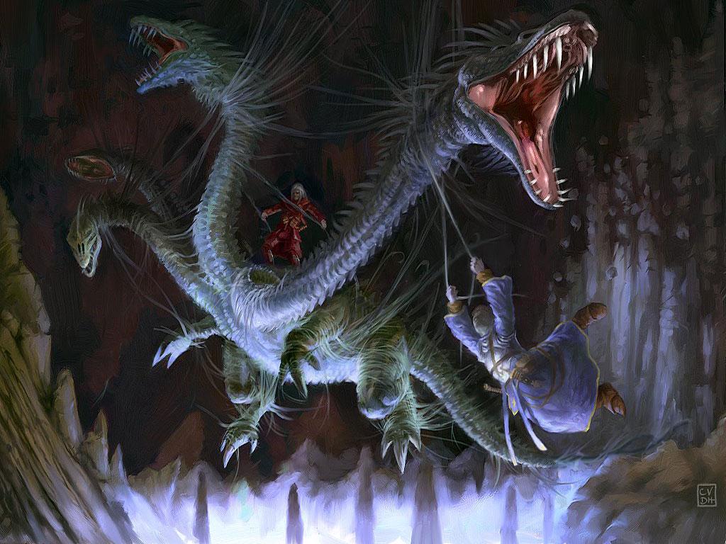 Dragon hunting 2D Digital Art Fantasy Art 1024 x 768 pix 1024x768