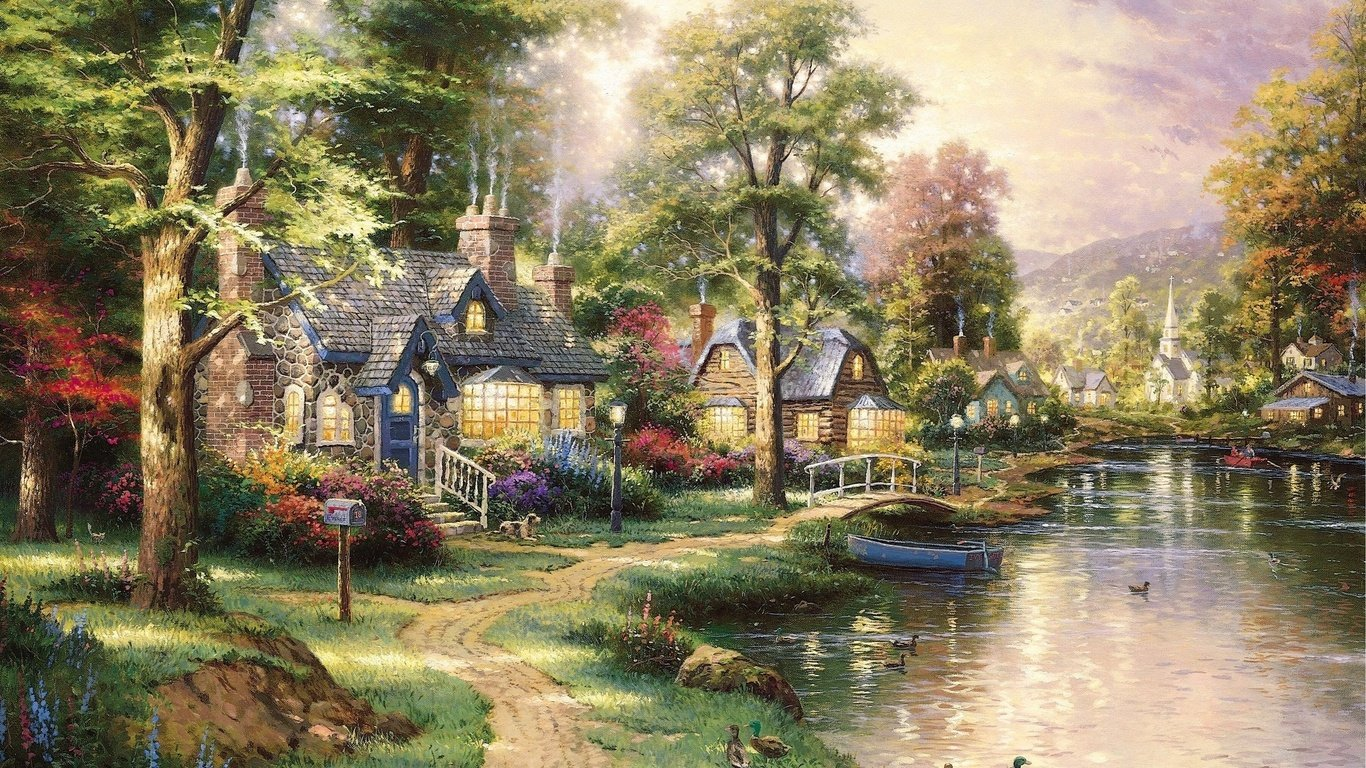 Wallpaper landscape picture hometown lake painting houses trail 1366x768