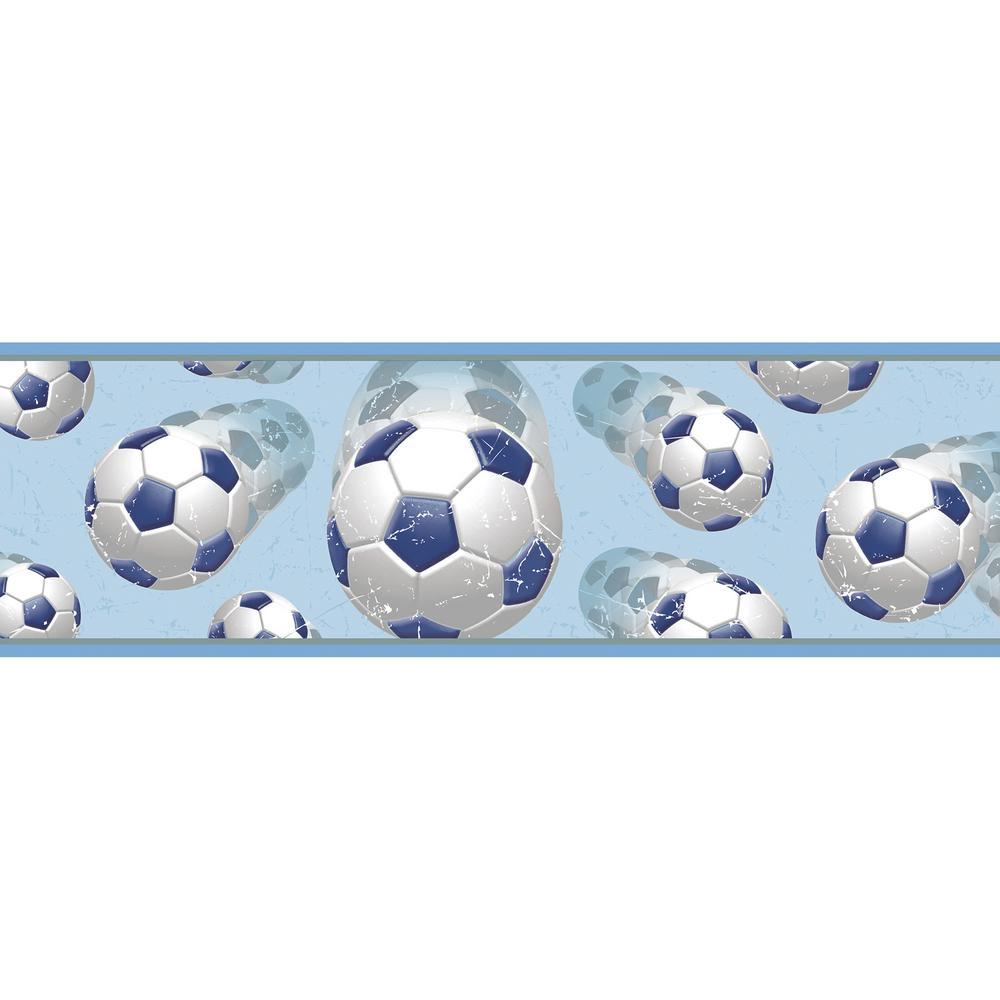Chesapeake Beckham Blue Soccer Ball Motion Wallpaper Border Sample 1000x1000