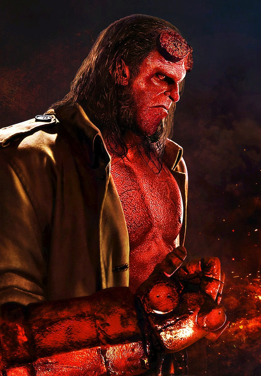 David Harbour as Hellboy 2018   Poster 1 by CAMW1N on 907x1303